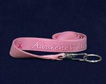 Pink Ribbon awareness custom lanyards